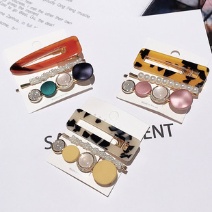 Simple imitation pearl hairpin 3-piece set Korean net red ins side clip girl bangs clip color hairpin clip headdress