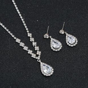 Amazon cross-border bridal rhinestone necklace earrings bracelet jewelry set wedding bridal jewelry 3-piece set wholesale