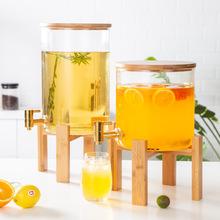 北欧风大容量商业家用带龙头饮水桶餐厅冷热水壶饮料果汁透明玻璃