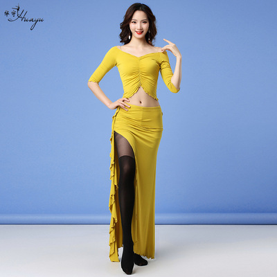 Belly dance modal practice clothes two-piece sexy lace belly performance costume female adult