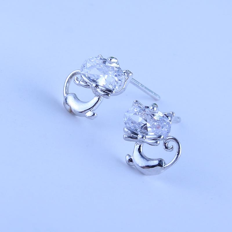 熱銷新款s925純銀耳針耳飾女可愛卡通小貓潮流耳釘小動物鋯石耳釘