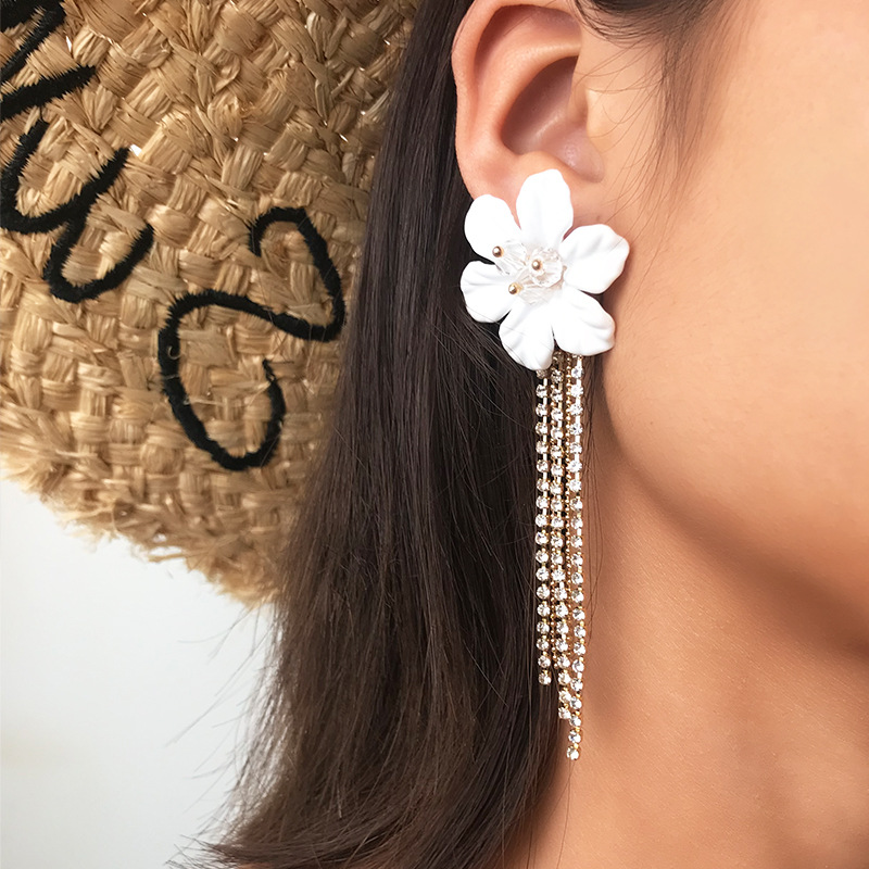 European and American long fringed flower rhinestone earrings NHNZ140052