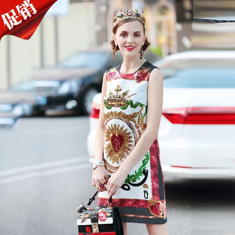 春夏季欧美走秀新款金色亮片印花气质无袖背心圆领中款连衣裙女装