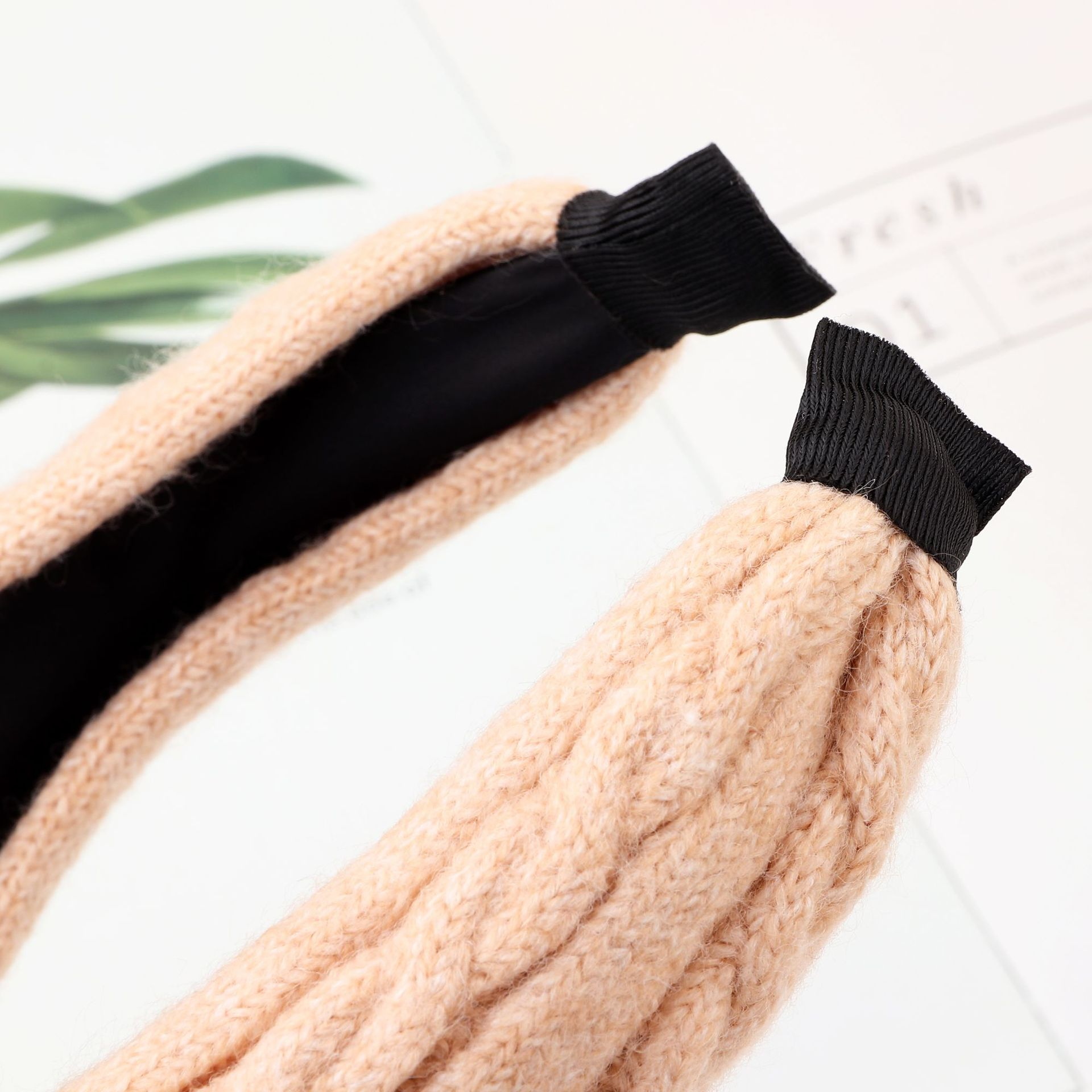 Autumn and winter simple wool knit headband knotted wide-brimmed solid color headband NHNZ177398