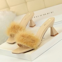 AB2 Korean fashion slippers with thick heels, high heels, square toes and open toes