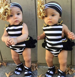 Baby jumpsuit, summer neck, back, triangle, striped bow, hairband, two-piece baby crawling suit