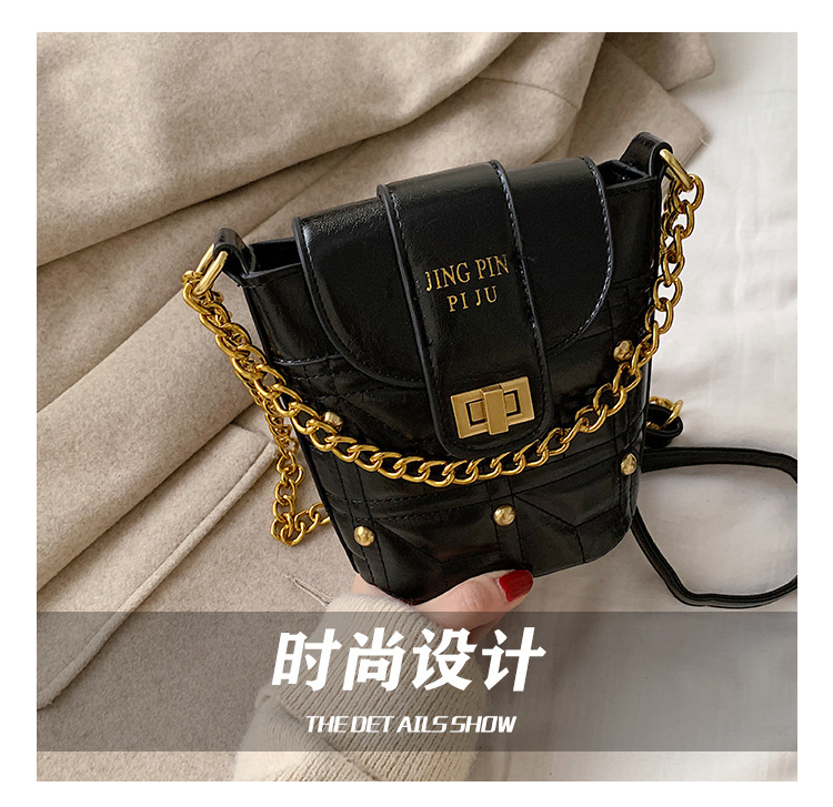 New fashion rhombus portable bucket bag female simple wild lock single shoulder messenger bag NHPB196964