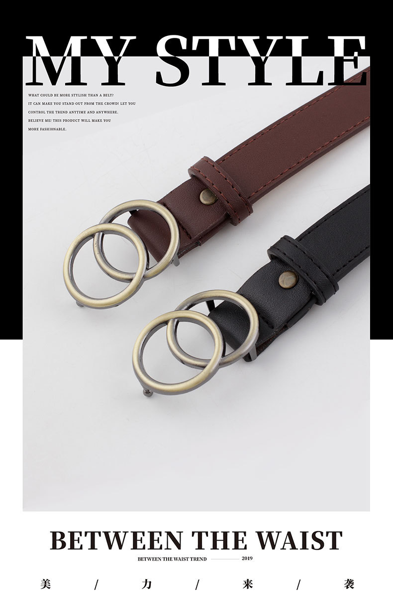 Fashion woman leather metal double buckle belt strap for dress jeans NHPO134073