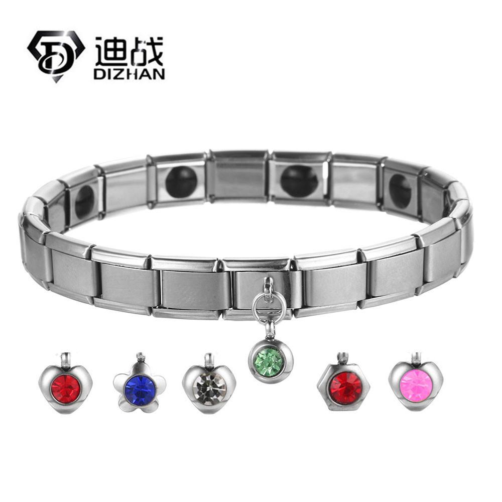 不锈钢磁能量手链 锗离子保健饰品魅力星星小水晶健康DIY手链G283