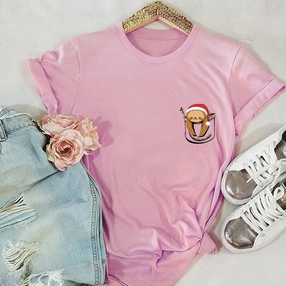 hot selling short-sleeved blouse Merry Christmas pocket sloth t-shirt NSSN2567
