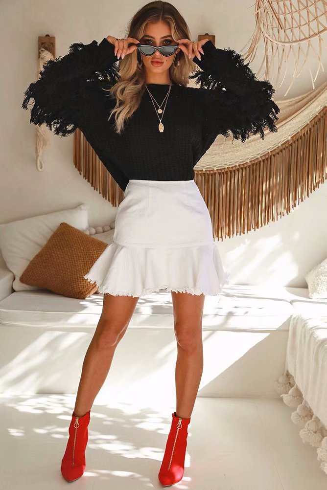 loose pullover fashion tassel long-sleeved knitted top NSYD3679
