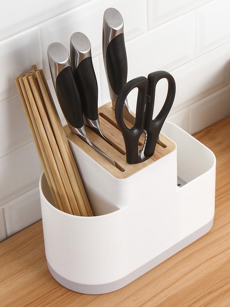 筷子筒厨房专用多功能筷笼刀架一体家用刀座收纳置物架放菜刀架子