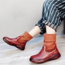 女童真皮短靴批发 内增高毛线口袜靴 平底圆头加绒中筒靴一件代发