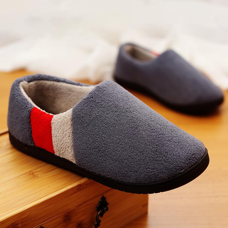 棉拖鞋男 大码 冬季 包跟托鞋居家家用棉拖男士保暖室内防滑家居