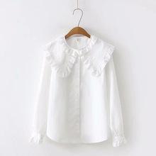 日系森女小清新蕾丝花边大娃娃领长袖衬衫女春新款学生白衬衣甜美
