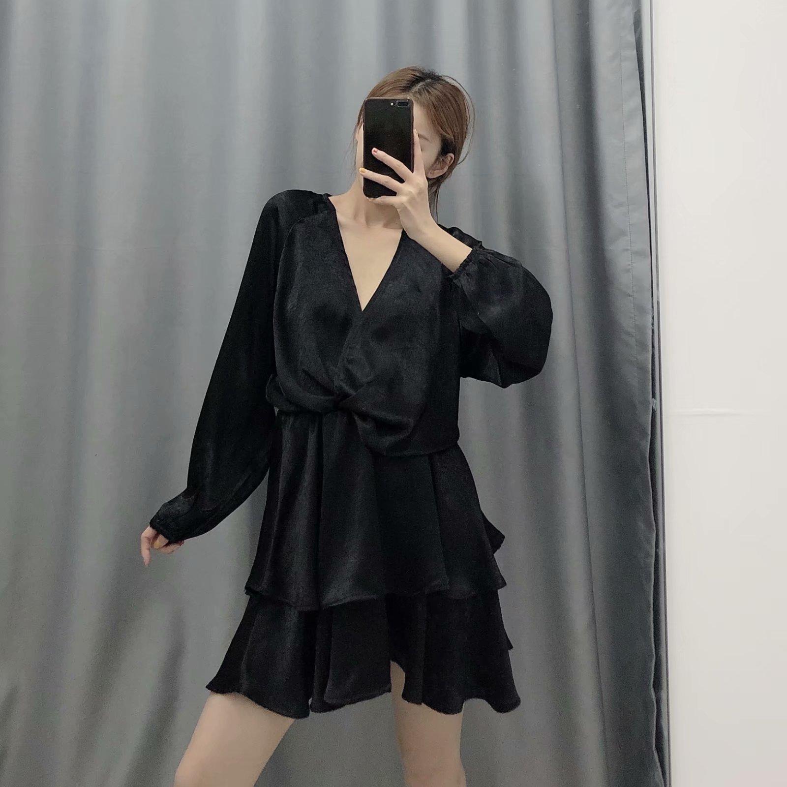Wholesale 2019 Winter Laminated Mini Long Sleeve Dress NHAM182027