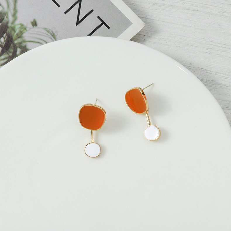South Korea S925 Silver Drop Oil Stud Earrings Women's New Fashion Hot Color Matching Round Ear Studs NHQS194708