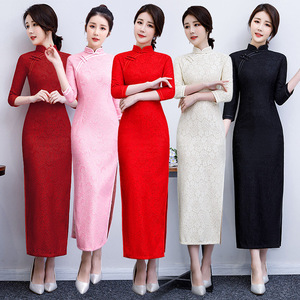 China lace qipao dresses for women chinese dresses cheongsam banquet show red cheongsam