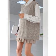 6857时尚V字领针织毛衣女士马甲背心 2019秋季新款韩版休闲毛衫