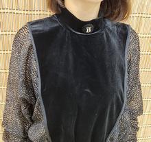 2019歐洲站秋季新款女半高領波點袖蝙蝠衫百搭時尚上衣金絲絨小衫