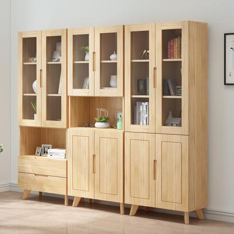 Nordic Solid Wood Bookcase Gl Door