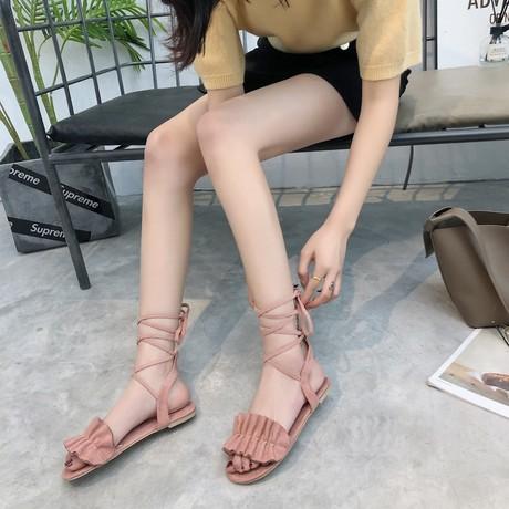 Mong muốn tốc độ bán hàng ngoại thương kích thước lớn mùa hè mới thời trang Hàn Quốc hở ngón hoa đeo chéo quai ngang