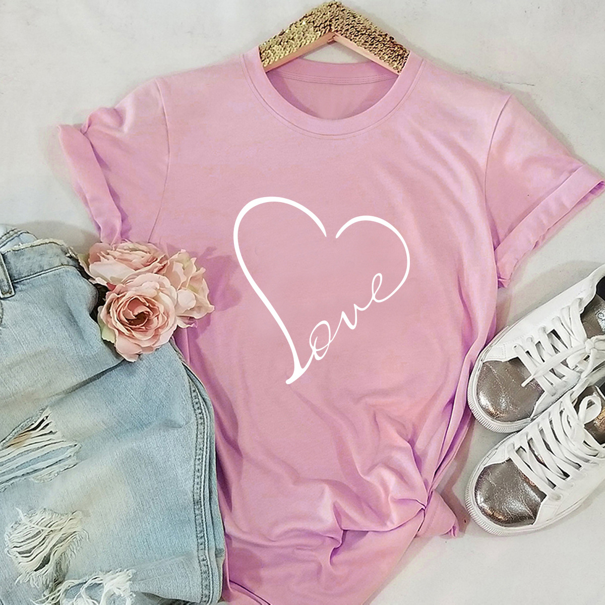 heart-shaped love printing short-sleeved T-shirt   NSSN3366