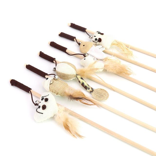 厂家直销宠物猫玩具 逗猫棒猫咪爱老鼠型皮筋带铃铛木棍 逗猫杆