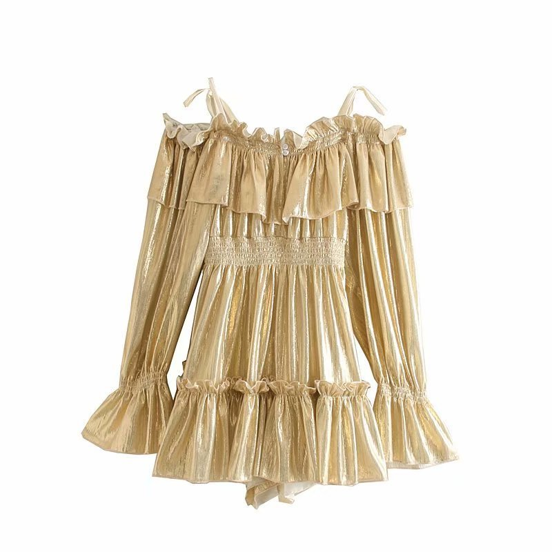 Wholesale 2019 Autumn Silk Metal Texture Off Shoulder Puff Sleeve High Waist Shorts Overalls NHAM182063