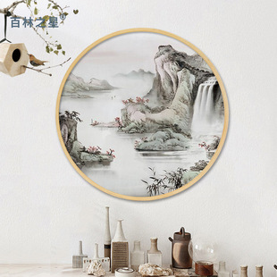 Bailinzhixing Yiwu creative decoration craft painting photo frame wooden photo wall customization round solid wood picture frame