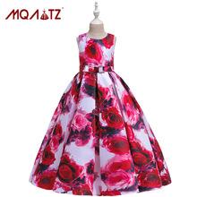 跨境ebay新款儿童礼服玫瑰印花童装礼服 儿童礼服公主裙dress kid