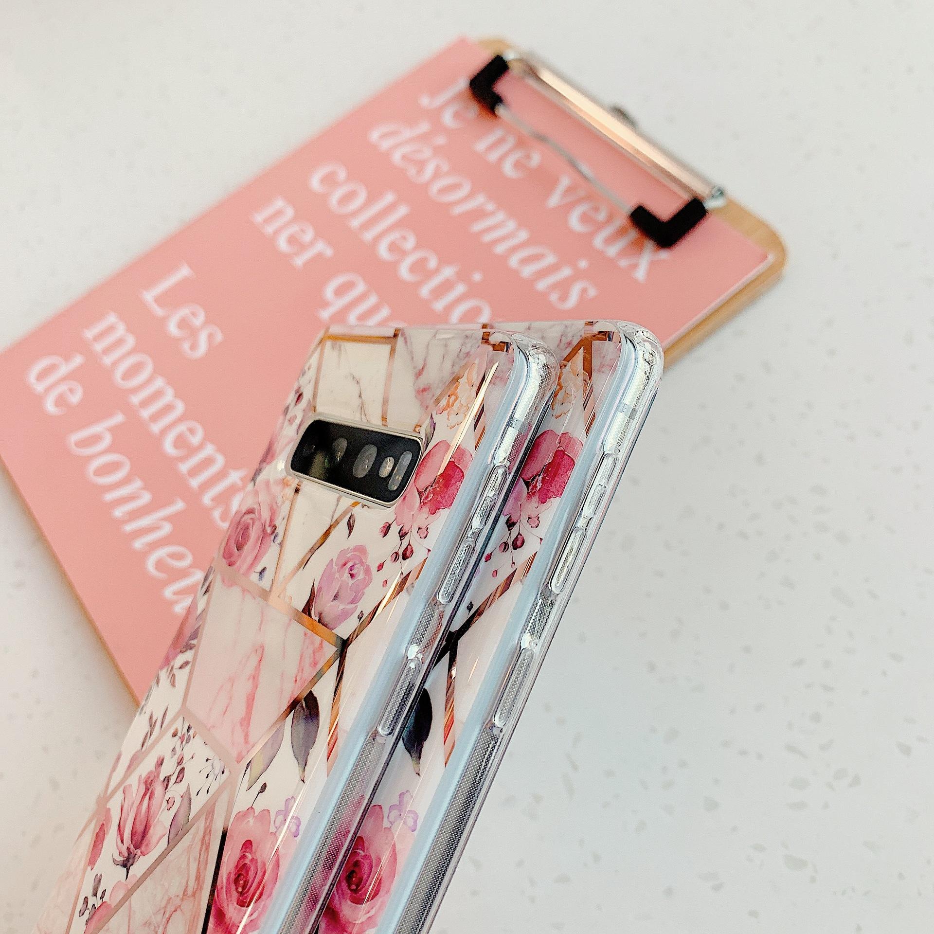 Geometric mosaic retro flowers Samsung note10+ mobile phone shell s10plus for cross-border s8+/s9+ soft shell NHDV176319
