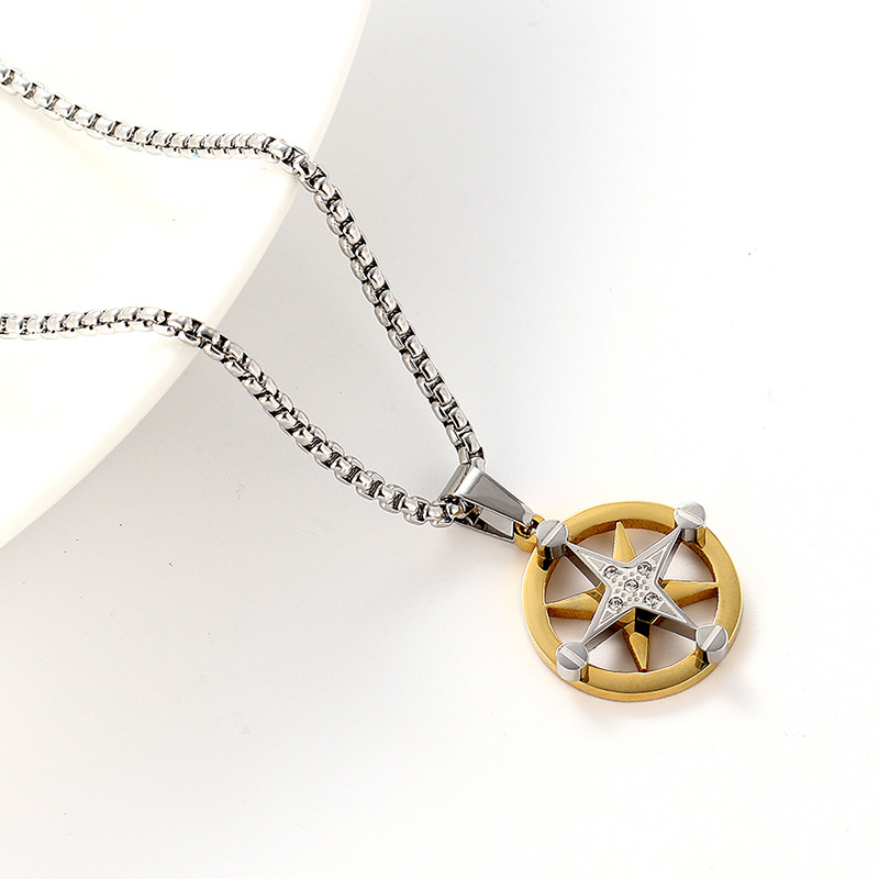 Titanium&Stainless Steel Simple Geometric necklace(Gold)Fine Jewelry NHIM1670-Gold