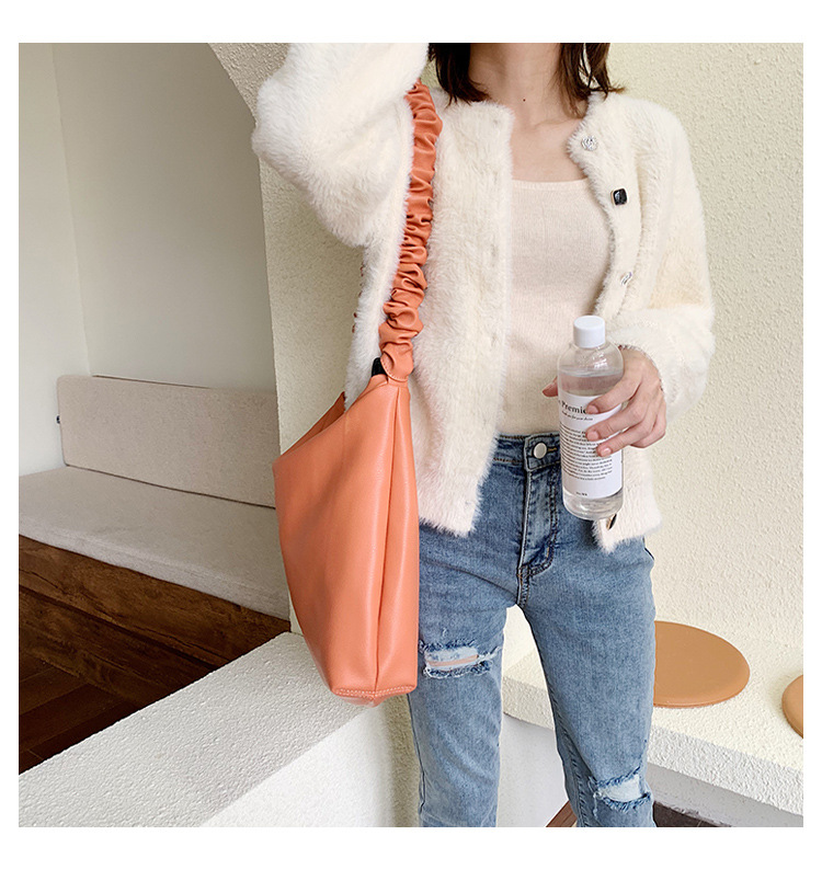 New Korean simple solid color handbag women fashion soft bag large capacity fashion casual shoulder bag NHPB192016