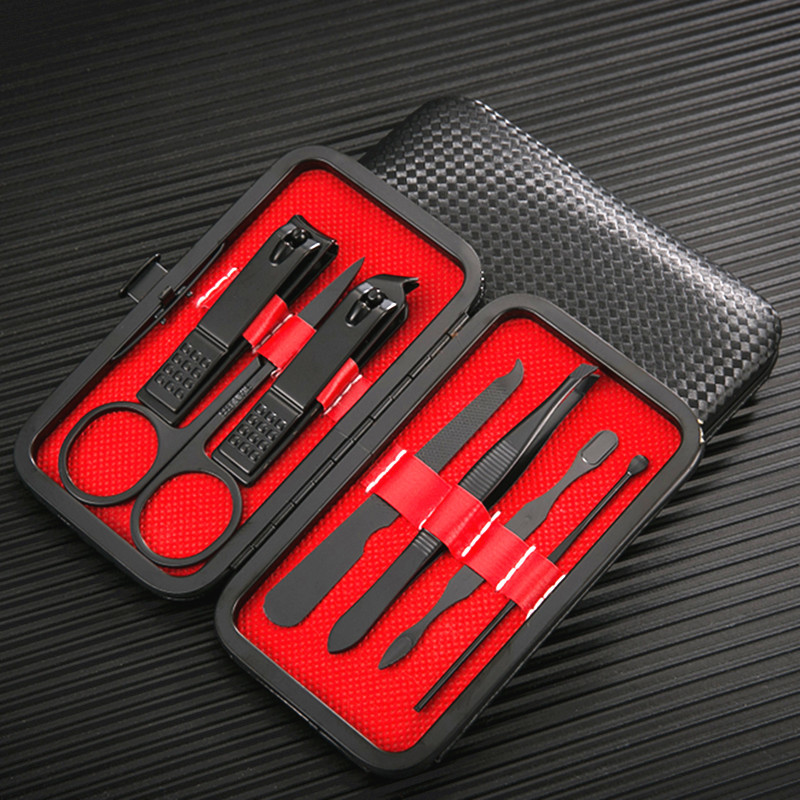 不锈钢指甲刀套装7件套定制logo 修脚钳美容美甲剪全套工具礼品包