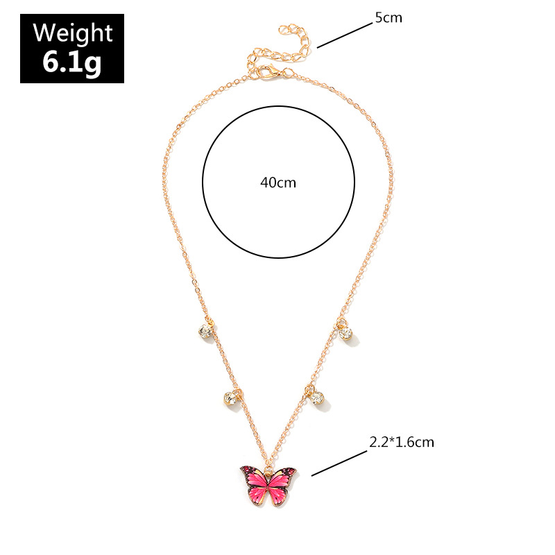 Fashion personality with diamond clavicle chain bow necklace NHNZ158409