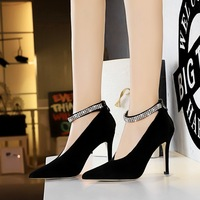 6839-1 European and American fashionable sexy nightclub show thin hollow V-shaped mouth metal water drill with high-heeled single shoes