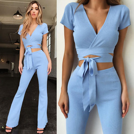 European and American fashion  explosion suit Sexy V-neck strap slim leisure suit ZC3014