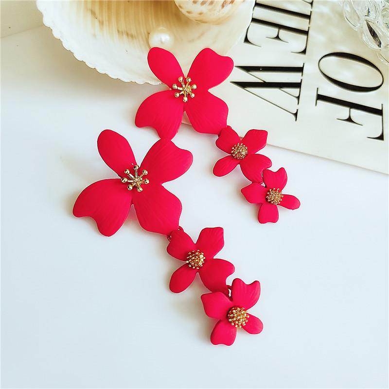Fashion long flower alloy earrings NHVA142092