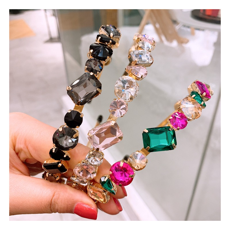 Korean full diamond hair hoop fashion super flash transparent diamond wild card accessories NHHD200326