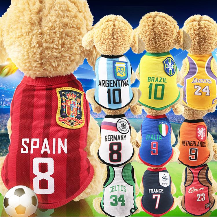 宠物服饰网眼背心足球篮球宠物世界杯泰迪比熊贵宾小型犬运动服