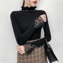 跨境女装2019新款半高领套头毛衣女修身长袖镂空蕾丝领针织打底衫