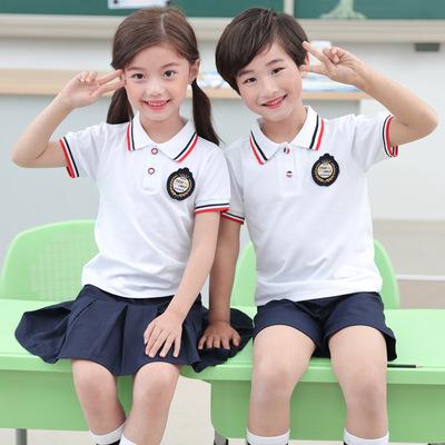 2020新款幼儿园园服纯棉夏装短袖中小学生校服班服夏季套装英伦风