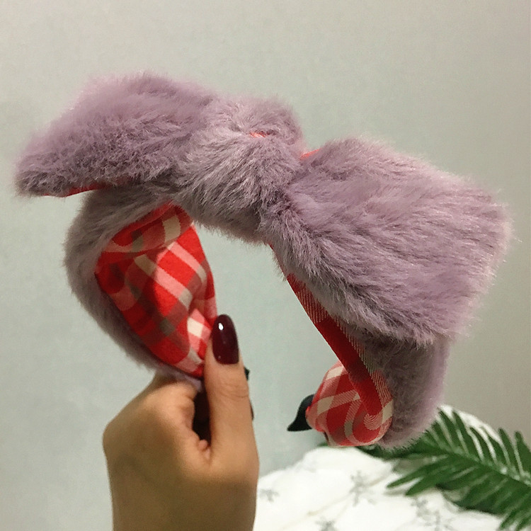 Lamb hair new headband plush bow headband NHRH170353