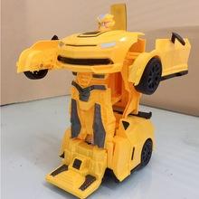 飞轮电动玩具赤焰黄蜂一键变形遥控车机器人汽车人充电遥控汽车