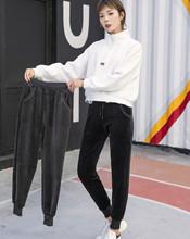 加绒加厚冬金丝绒羊羔绒女裤保暖双面绒宽松哈伦休闲学生运动裤