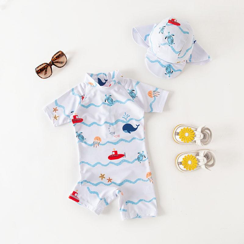 连体泳衣 白色长袖海洋世界带帽子款 儿童温泉泳衣