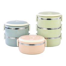 欧耐思 不锈钢双层保温饭盒方扣圆形便当盒多层密封保鲜午餐盒