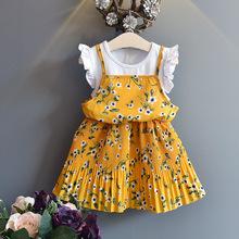 2019春夏童裝假兩件修身打底短童裙蕾絲韓版女童公主連衣裙
