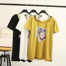 韓版夏裝新款胖MM印花雙V領彩色肩帶不規則下擺短袖T恤女58-8168